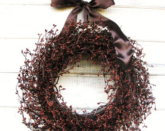 Fall Wreath-Fall Decor-Autumn Wreaths-CHOCOLATE BROWN Door Wreath-Primitive Decor-Woodland Decor-Woodland Wedding-Choose Scent and Ribbon