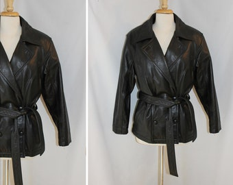 FREE SHIPPING - Vintage Womens Black Leather Biker Jacket by Tannery West - Size Medium