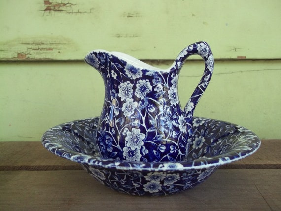 Calico Pattern miniature bowl and pitcher - Crownford China, Staffordshire England