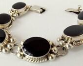 Vintage Taxco Mexican Silver Onyx  Bracelet