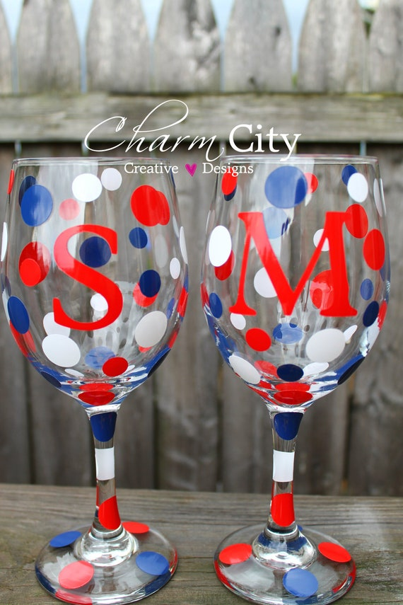 Personalized Wine Glass  20 oz wedding bridal birthday party friend 4th of july holidays usa