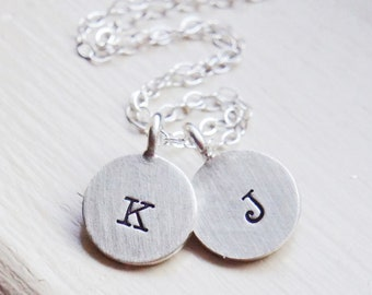 Initial Necklace Two Disc Personalized Monogram Name Sterling Silver Custom Jewelry Gift for HerMothers Day