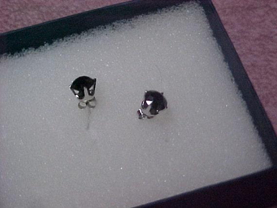 Pair of Vintage Natural Black Diamond Stud Earrings, 2.00 Carat Total, 6MM Each, 14K White Gold
