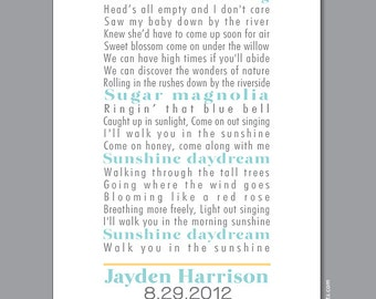 Personalized Nursery Print (custom song, lyrics art, storybook) with birth stats, blue & yellow