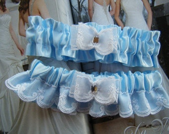 Soft Blue and White Garter Set.