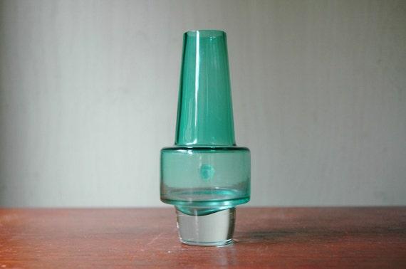 Danish Modern Sea Glasbruk Rocket Vase Designed By Inge Samuelsson - Mid Century Art Glass