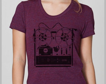 Women's Vintage Reel to Reel T Shirt  American Apparel Tee S, M, L, XL 8 COLORS