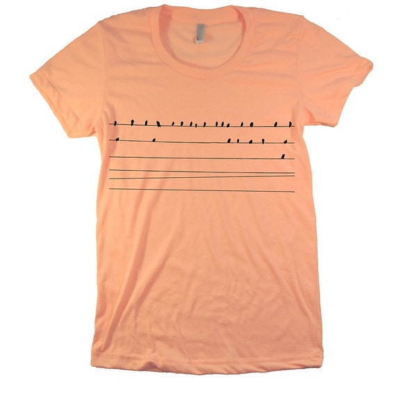 Women's T Shirt Birds on a Wire American Apparel XL  APRICOT