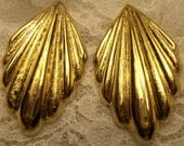 1980 14k Gold Over Sterling Silver Earrings Leaf Pattern