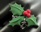 Christmas Holly Ring. Holiday Ring. Christmas Ring. Silver Filigree Adjustable Ring. Handmade Jewelry.