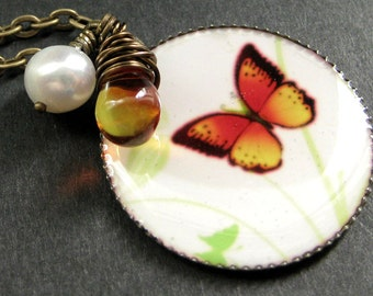 Bright Butterfly Necklace. Butterfly Pendant Necklace with Fiery Teardrop and Fresh Water Pearl. Handmade Jewelry.