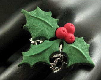 Christmas Holly Ring. Holiday Ring. Christmas Ring. Silver Filigree Adjustable Ring. Handmade Jewelry.