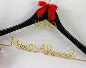 SALE Wedding Hanger with Colored Wire and Date Charm, Bride Hanger, Bridesmaid Gift, Shower Gift, Name Hanger