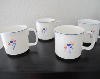 Riva Designs 4 Mug Tulips Set lovely primary color japan design