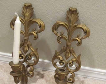 Burwood Candle Holder plastic ornate gold tone sconces pair of 2