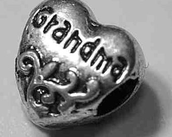 Grandma grandmother granny gift Charm bead for jewelry Real Sterling Silver .925 heart