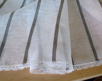 """Linen Tablecloth Striped Natural White Gray Linen Lace  59"""" x 59"""""""