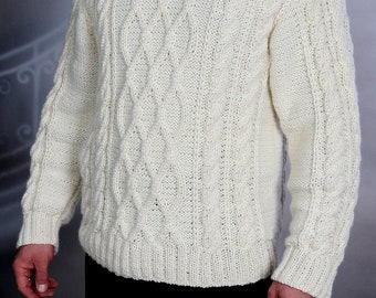Sweater mens hand knit  White XXL