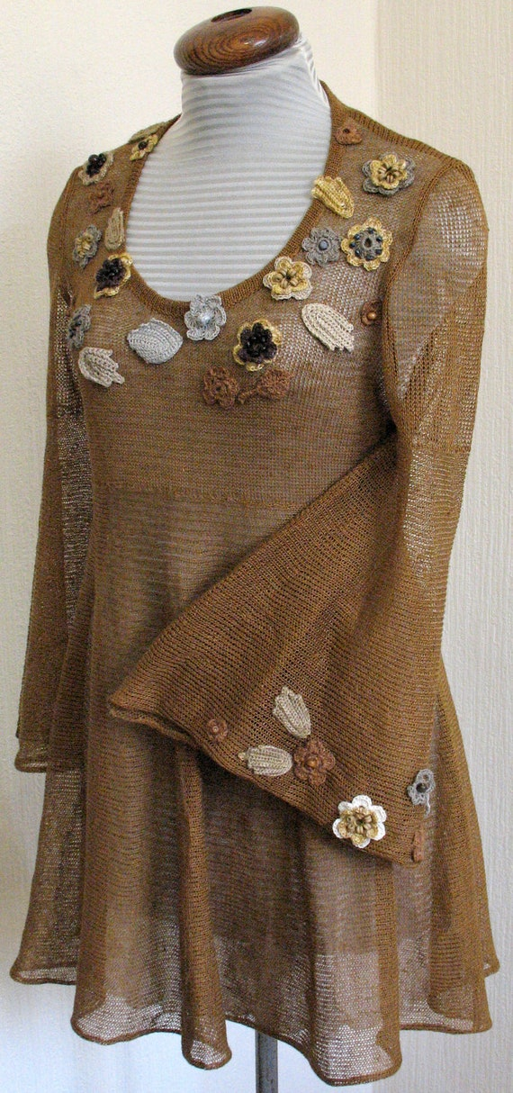 Reserved for  Cheryl Ennis - Linen Top Tunic Sweater Clothing Brown Beige Yellow Grey knitted and Crocheted Flower