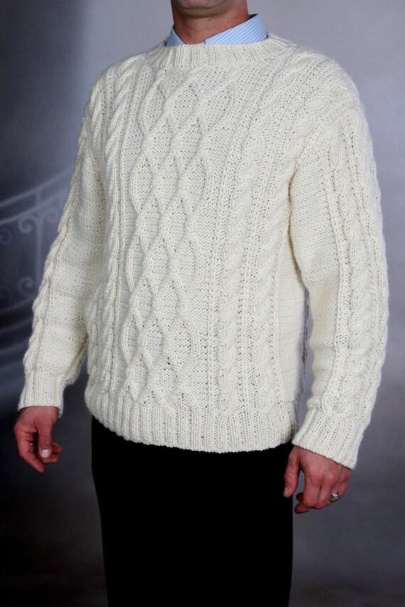 White Sweater unisex knit XXL mens