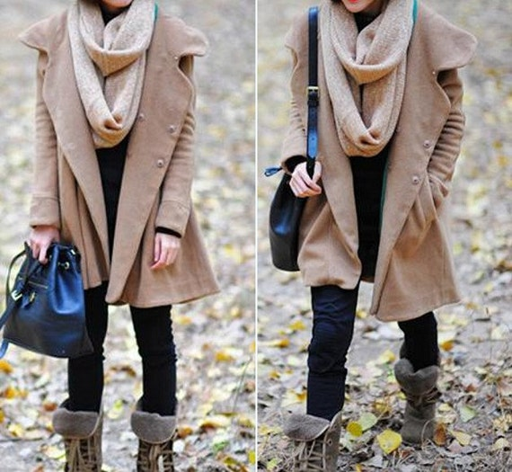 Camel Hoodie Wool cape winter coat