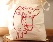SMALL Tote/Gift Bag - Belle The Cow - Canvas Tote Gift Bag -  Hand Screen Printed