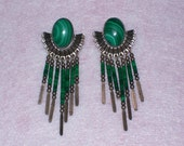 Vintage Southwest Malachite and Sterling Dangle Earrings