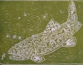 """Trout fly fishing artwork """"Big Spring Twist"""" by Jonathan Marquardt of BadAxeDesign"""