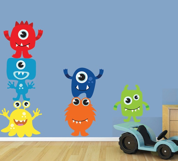 Monsters wall decal reusable childrens fabric wall decal for Vinilos decorativos infantiles