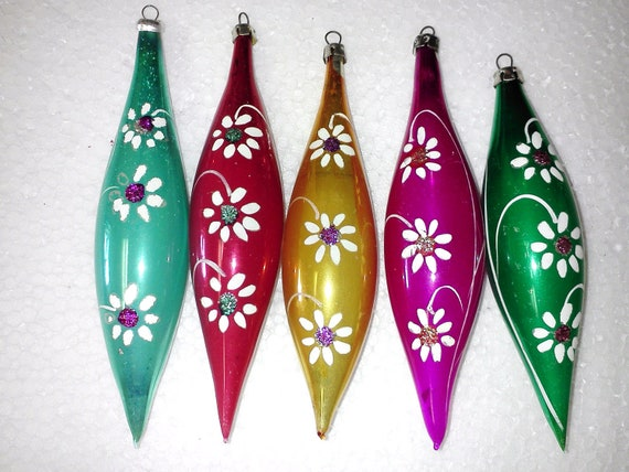Shiny Brite Icicle Teardrops Blown Glass by Lanissa West Germany