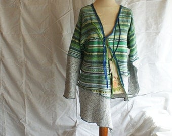 Asymmetrical Loose Blazer in Green and Blue Jacket  Eco Upcycled Cardigan Tattered Woman Clothing