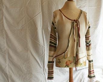 Short Ecru Asymmetrical Cardigan Sleeves in Stripes Loose Jacket  Upcycled Blazer Woman's Clothing Shabby Chic Eco Friendly Style