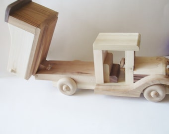 Toy - Wooden - Dump Truck -  Pretend Play - Natural Wood- HandCrafted - Woodworking - Waldorf - Dump Truck