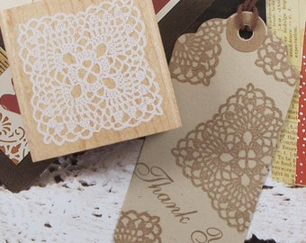 Square Doily Lace Rubber Stamp