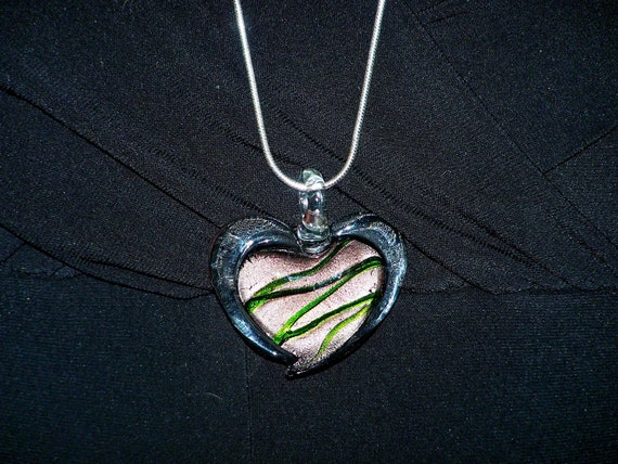 Heart-shaped Murano Pendant in copper, green and black, Silver-plated snake chain, Lampwork Jewelry....