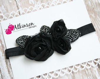 Black Rosette Applique Headband-Newborn/Infant/Toddler/Adult- Photo Prop