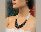 OOAK Bridal jewelry, bridal necklace, bridesmaids jewelry, vintage inspired Black,white Ribbon beaded bib necklace.