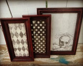 "Halloween Framed Prints Gothic Skull Poison Creepy Scary Circus Red Black Patina Distressed Typography ""Walls are Bleeding"""