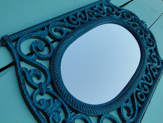 Large Vintage Ornate Iron Look Mirror Scrolls French Country Gothic in Distressed Teal Turquoise Lagoon