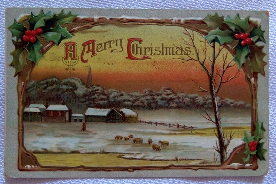 Vintage Christmas Postcard 1911 - A Merry Christmas