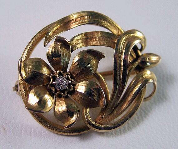 HOLDING for Randy Zeitlin, G.G., A.J.P. ---Fine Art Nouveau 14k Old Mine Cut Diamond Floral Brooch Pin 4.4 Grams