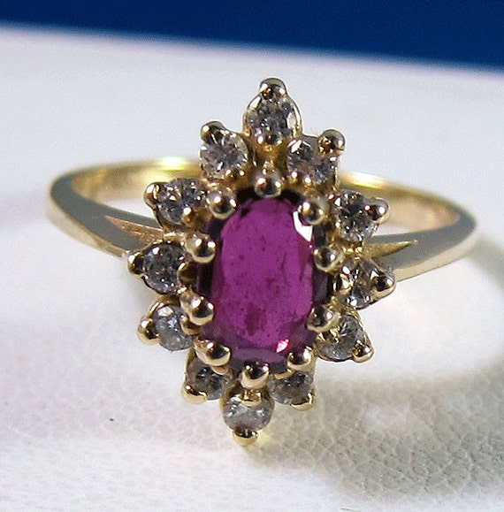 Fine Vintage 14k Oval .85 carat Ruby Diamond Halo Ring with old Appraisal