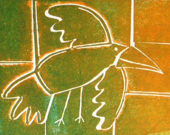 As the crow flies - Lemon and Lime - Signed Original Collagraph, hand pulled relief print