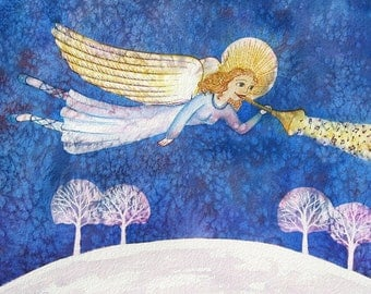 Christmas Angel - Original mixed media painting