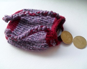 Knitted berry wine pouch / dice bag