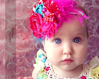 Circus Rosette Headband - Photo Prop - Baby Headband - Birthday Headband - Infant Hairpiece