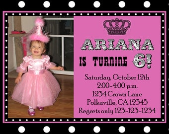 Polka Dot Crown Birthday Invitation with Photo Print Your Own 5x7 or 4x6
