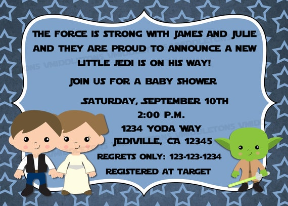 jedi star wars theme inspired baby shower invitation with advice cards