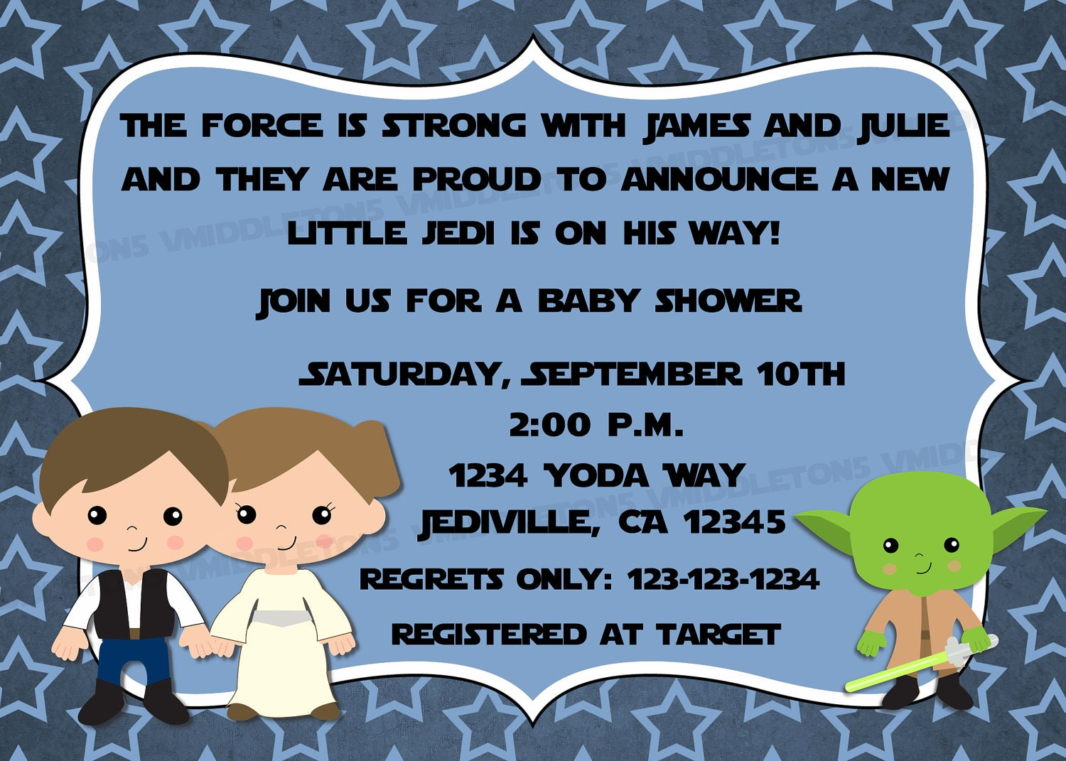 jedi star wars theme inspired baby shower invitation with