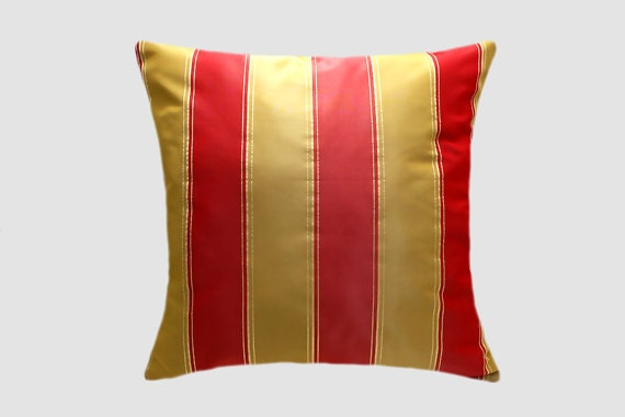 Decorative pillow case royal red gold striped fabric with - Fabric for throw pillows ...
